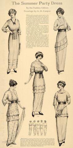 1914 Print Summer Party Dress Flowered Lace Ribbon  - ORIGINAL HISTORIC IMAGE