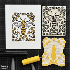 Bee: Original BlockPrint by Andrea Lauren via Andrea Lauren. Click on the image…