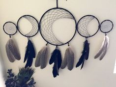 5 ring dreamcatcher, moon dreamcatcher, lunar dreamcatcher, dreamcatcher, black dreamcatcher, native american dreamcatcher, dream catcher,