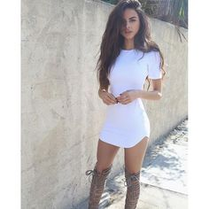 Jenner style curved hem short sleeve dress with high boots