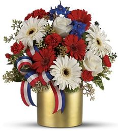 Hope Bouquet. Red, white and blue flowers. Patriotic.