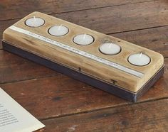 Personalised Reclaimed Wood Tea Light Holder