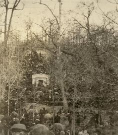 Abraham Lincoln's funeral when his casket was temporarily placed in the receiving vault of Oak Ridge Cemetery, 1865