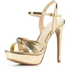 Charlotte Russe Metallic Platform Dress Sandals (€23) ❤ liked on Polyvore featuring shoes, sandals, dress sandals, toe strap sandals, metallic platform sandals, gold sandals and metallic dress sandals