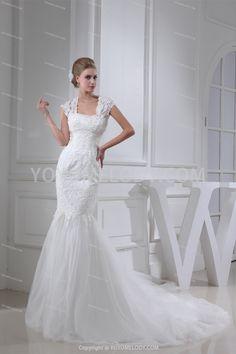 Satin Straps Sweep-Brush Train Sheath/Column Wedding Dress WD0300827