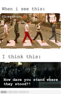 Omg I love the Beatles and 1D but when I firt saw the pic I was like HOW DARE YOU! Lol