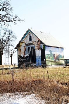 I love this Grant Wood barn. Now this is American Gothic. HWY 30 east of Cedar Rapids, Ia Country Barns, Old Barns, Country Roads, Country Living, Architecture Unique, Classical Architecture, Grant Wood, Barn Art, American Gothic