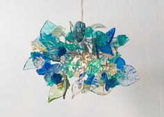 Ceiling lamp. Sea Blue shades of flowers and by yehudalight, $139.00