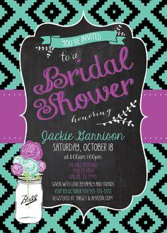 Any Color AZTEC TRIBAL CHEVRON Bridal Baby Shower Sprinkle Turquoise Purple Wedding 21 1 Girl Boy Birthday Bachelorette Rehearsal Invitation
