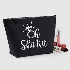 Oh Shit Kit Cosmetic Graphic Illustration Canvas Makeup Accessory Bag Wedding Bachelorette Bridesmaid Hen Party
