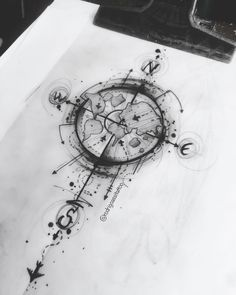 Time Tattoos, Small Tattoos, Sleeve Tattoos, Tattoos For Guys, Tatoos, Compass Drawing, Compass Tattoo Design, Cross Tattoo Designs, Tattoo Sketches