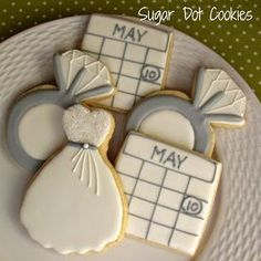 Engagement Ring Cookies~ By Sugar Dot Cookies, White, silver, ring, dress, calendar. Cookie.Catablog.CC