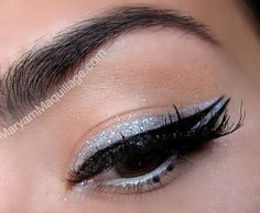Graphic Liner. A Little Bling Goes A Long Way: Glitter Eyeliner. Click the pic to see the blog! #beautyblog #glittermakeup