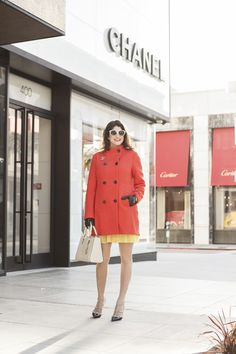 Laura Lily Fashion, Travel, Lifestyle Blog, Ann Taylor Orange Coat, Chanel Rodeo Drive Beverly Hills, Valentino Rockstud Heels,