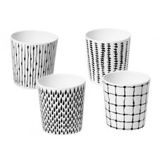 Design House Stockholm Catharina Kippel Bono Mugs, Set of 4 - could I recreate this with Sharpie? Painted Mugs, Painted Pottery, Hand Painted, Deco Design, Mugs Set, Mug Designs, All Modern, Home Accessories, Modern Furniture