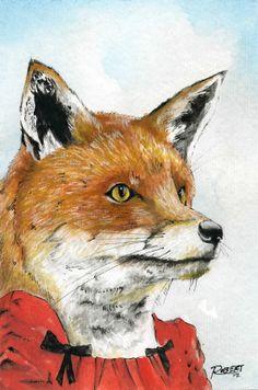 Fox 4x6 by RobertBobbyArt on Etsy, $15.00
