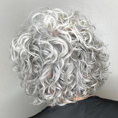 Short-To-Medium Gray Permed Hair