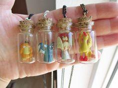Pokémon Necklaces  Misty's Psyduck Ash's Pidgeotto by GlitzCouture, $15.55