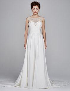 'Ren' Fall 2017 #KellyFaetaninisSilk stretch crepe sleeveless wedding dress with gathered bodice and metallic lace http://www.kellyfaetanini.com