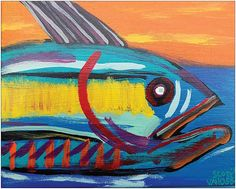 Colorful Abstract Art Big Eyed Tuna Fish PRINT by MySalvagedPast