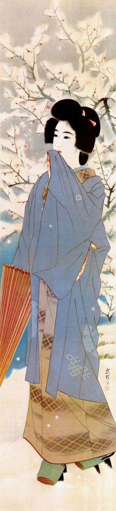 kuchi-e print by Ito Shinsui (1898-1972), published in the January of 1935. She 's wearing geeta (wooden shoes)  with snow protection....
