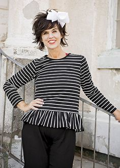 The Hair Bow Company | Mommy & Me Black & White Striped Ruffle Shirt for Women