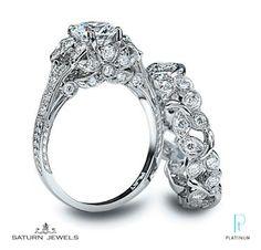 Saturn Diamond Engagement Ring and Diamond Band