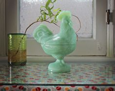 Jadeite Glass Covered Rooster Dish by DecorStory on Etsy, $44.00