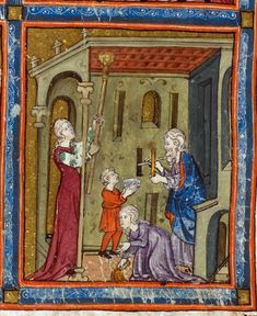 Detail of a miniature of the cleaning of the house, from the Golden Haggadah, Spain (Catalonia), second quarter of 14th century, Additional 27210, f. 15 - See more at: http://britishlibrary.typepad.