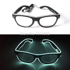 2017 New Bright Glasses 26 Style Flashing EL wire Novelty Lighting Neon LED Rave Costume Glowing For Halloween,Party,Cosplay