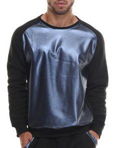 Buyers Picks - Faux Leather Metallic raglan Crewneck Sweatshirt