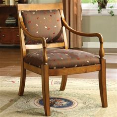 Betty Accent Chair Padded fabric seat Flared legs Solid wood
