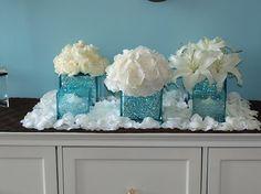 Wedding, Flowers, Reception, White, Blue, Silver, Fantasia floral