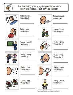 Today I...,Yesterday I...-worksheets for working on irregular past tense verbs Consultez aussi: http://histgeodaudet.free.fr/banque/didapages/verbesirreguliers/
