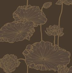 Water Lily Wallpaper A bold contemporary design. Metallic gold print on a chocolate brown background.