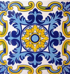 Blue and gold Spanish tile