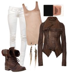 outfit 4 ♥ brown leather jacket && combat boots w. girly accent pieces ♥