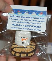 Snowman S'more treat (includes free printable gift tag)