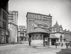 "Boston circa 1905. ""Scollay Square Station."" Drug store sodas 5 cents -- ""None Better."" 8x10 inch glass negative, Detroit Publishing Company..."
