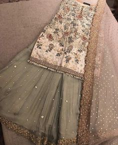 Pakistani dress/ partywear/ desi dresses/ indian dress Beautiful 3 piece kameez with pallazzo style pants. Pakistani Wedding Outfits, Pakistani Wedding Dresses, Bridal Outfits, Indian Dresses, Indian Outfits, Emo Outfits, Indian Designer Outfits, Designer Dresses, Indian Designers