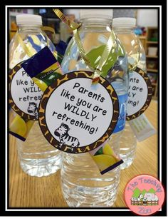 {Freebie!} Water bottle labels to give parents for back to school / open house / or conferences.