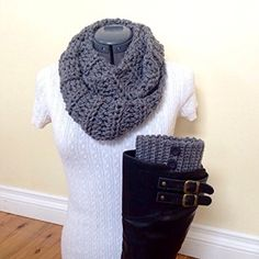 Gray Infinity Scarf and Boot Cuff Set with Black Buttons -- Awesome products selected by Anna Churchill