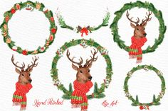 Watercolor Christmas Deer clipart by LeCoqDesign on @creativemarket