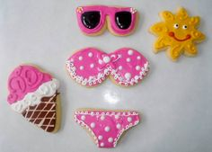 Fig Tales ~ Summer Lovin' Cookies. Sun, Bikini, Sunglasses, Ice Cream Cone
