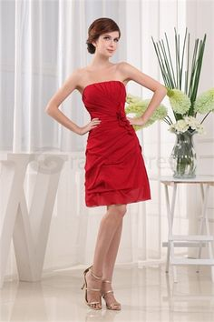 Red Strapless Sleeveless A-Line Ruffles Bridesmaid Dress http://www.gracefuldress.com/Red-Strapless-Sleeveless-A-Line-Ruffles-Bridesmaid-Dress-p19459.html