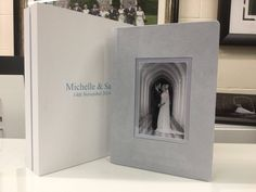 Suede cover with linen box all colour co-ordinated to match the winter wonderland theme of this Stanbrook Abbey wedding. Winter Wonderland Theme, All The Colors, Albums, Colour, Box, Photography, Wedding, Image, Color