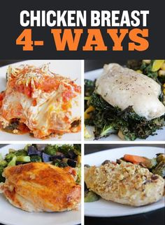 Dinner recipes · entrees · good video of four easy ways to enjoy two oven-baked boneless chicken breasts with Easy Chicken Recipes, Healthy Dinner Recipes, Healthy Snacks, Healthy Eating, Cooking Recipes, Food Trucks, Nutrition Education, Tortellini, Chefs
