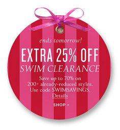 Extra 25% off Swim Clearance!  Use code:  SWIMSAVINGS http://rstyle.me/n/vazb5nyg6