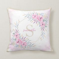 Shop Monogram Blush Pink Floral Watercolor Elegant Throw Pillow created by StyleDesignLove. Pink Throw Pillows, Colorful Pillows, Pink Leaves, Pink Flowers, Blush Pink Throw, Trendy Colors, Light Beige, Gray Yellow, White Elephant Gifts