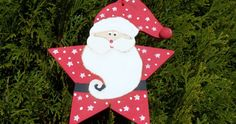 Santa Ornament Wooden Handpainted Red by paintingwhimsy on Etsy